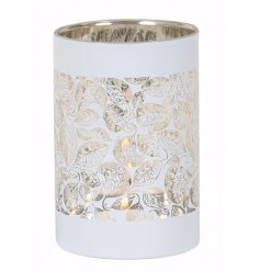 Bring a beautiful luxe feel to any home space with this white candle holder