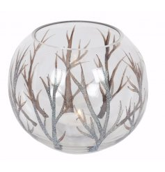 Add a woodland inspired look to any luxury dining table with this chic rounded glass tlight holder