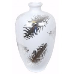 Bring a dainty silver luxe tone to your home spaces with this chic ceramic vase