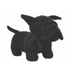 A stylish black fabric doggy doorstop,