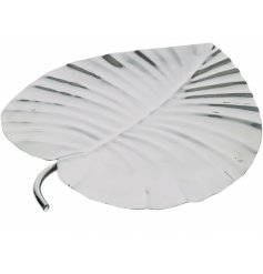 Bring a touch of chic to any contemporary home space with this stainless steel decorative leaf