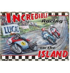 Part of our wide ranged collection of metal signs is this vintage inspired motor racing metal sign,