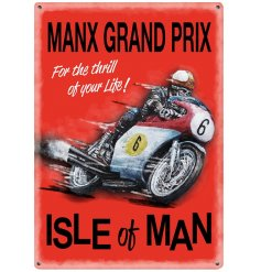 A red mini metal sign with manx grand prix theme
