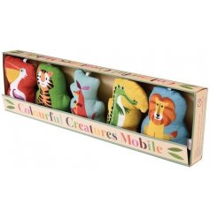 A colourful creatures hanging mobile for a baby's crib