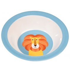 A blue melamine resin bowl featuring an orange lion