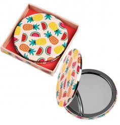 A totally tropical inspired compact mirror, packed in a matching display box