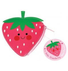 A sweet little Strawberry shaped coin purse   Perfect to keep in your bag and store all your loose change