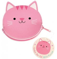 A sweet little kitten shaped  vinyl coin purse   Perfect to keep in your bag and store all your loose change