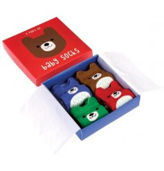This adorable little set of bear socks will keep any newborn baby's toes warm and cosy