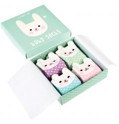 This adorable little set of bunny socks will keep any newborn baby's toes warm and cosy