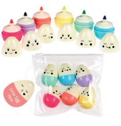 Emoji Egg Pens (pack Of 6)  Add a quirky look to any pencil case with these egg shaped felt tip pens