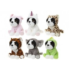 A mix of adorable french bulldog soft toys, each with an animal onesie outfit.
