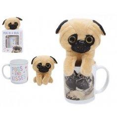 A gift boxed pug in a mug