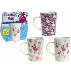 Add a flamingo fun feel to any kitchen with these quirky printed stoneware mugs