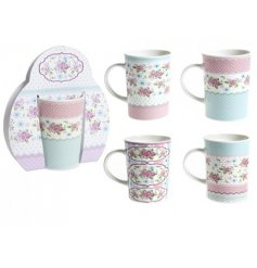 Bring a floral theme to any kitchenware with these beautifully assorted stoneware drinking mugs