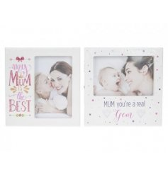 An assortment of 2 4x6 photo frames with mum quotes