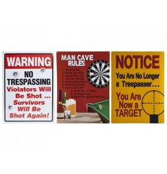 Bring a comical touch to any favoured man cave with these quirky metal tin wall signs