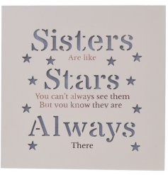 A beautifully chic light up wooden block, complete with a warm glowing sentimental sister quote