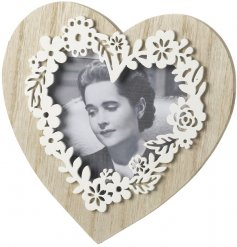 Natural Wooden Heart Frame With Floral Effect  Add a photo of your true love inside this chic wooden floral heart frame