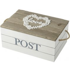 Hold onto all your letters and post inside this chic wooden floral heart frame