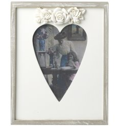 Floral Bouquet Wooden Frame  A beautiful cut out heart photo frame topped with a floral bouquet