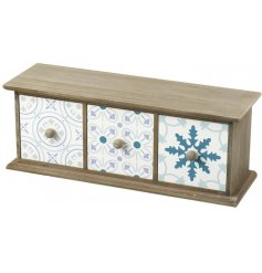 Wooden Blue Tone Draw  Keep hold of any trinkets or keys with this chic rustic wooden draw set