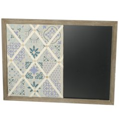 Blue Tone Memo Chalkboard  A chic wooden memo board with a built in chalkboard