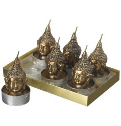 Set Of 6 Buddha Candles  Bring a relaxed zen feel to your home with this Buddha head themed tlight candle