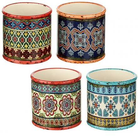Small Colourful Pattern Round Pots, 4ass