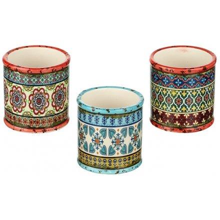 Bohemian Ceramic Planters, 4ass