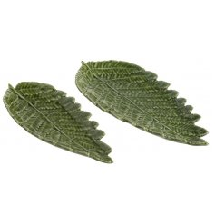 Ceramic Leaf Plate Set  Bring an on trend 'greenery' inspired touch to your home with these glaze finished leaf plates