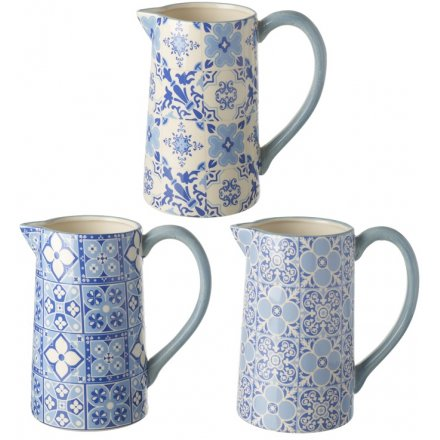 Blue Mosaic Ceramic Jugs, 3 Assorted