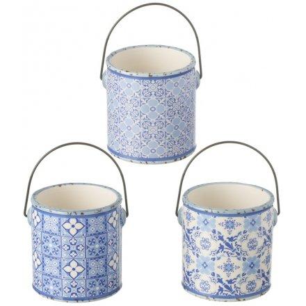 Blue Tone Ceramic Planters With Handles