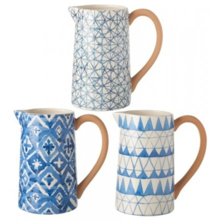 Geometric Blue Ceramic Jugs, 3 Assorted