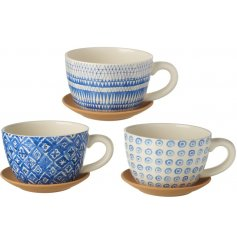 3 assorted ceramic Cup and Saucers