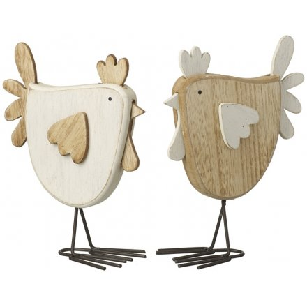 Mix Of 2 Wooden Hen Decorations