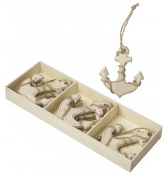 Wooden Anchor Decoration  A nautical inspired set of hanging wooden anchor decorations