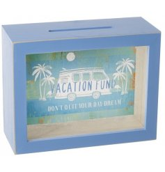 Get saving for your holiday travels with this ocean blue wooden money box