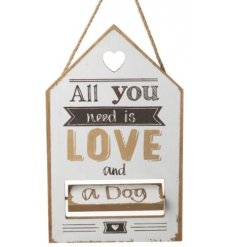 This hanging wooden plaque is a great gift idea for any home with a cat or a dog, or both!