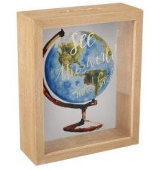 See The World Money Box   Save up for your travels with this natural toned wooden money box,
