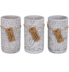 Add an on-trend tone to your home interior with these patterned cement candle pots