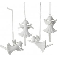 Add a sweet and simple touch to any christmas tree with these hanging resin angel figures