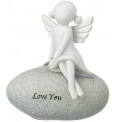 A beautifully popular sitting stone ornament, complete with a sweet script quote and perched angle figure