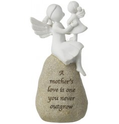 A beautifully popular sitting stone ornament, complete with a sweet script quote and perched angle figures