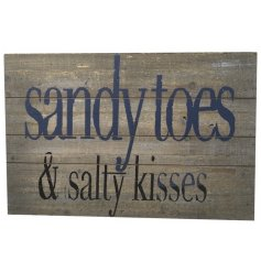 A 46cm wooden sign with coastal motto