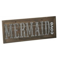 A chic and rustic inspired wooden wall plaque with a bold 'Mermaid Cove'