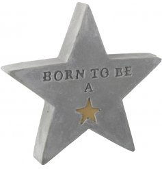 A chic and simple decorative concrete star featuring an embossed text and added gold decal