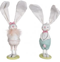 Standing Pastel Rabbit Decorations  An adorable duo of standing resin bunny figures