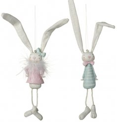 These floppy eared and fuzzy neck looking hanging bunnies will add a fun spring touch to your displays this easter