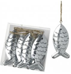 Simple and chic hanging metal fish decorations,   Add to any coastal charm themed space for a little luxe touch
